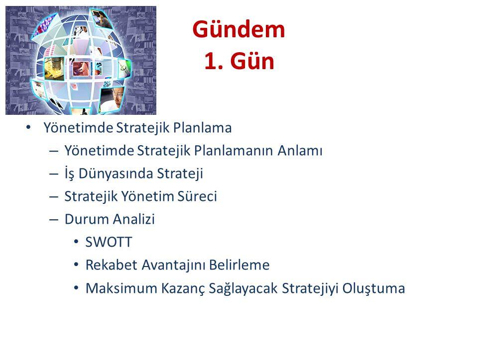 Gündem 1. Gün Yönetimde Stratejik Planlama – Yönetimde Stratejik Planlamanın Anlamı – İş Dünyasında Strateji – Stratejik Yönetim Süreci – Durum Analiz