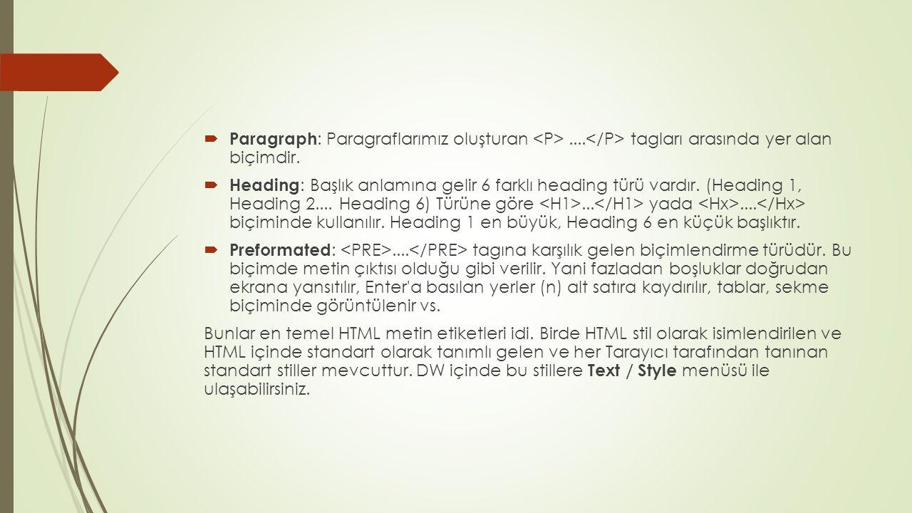  Paragraph : Paragraflarımız oluşturan.... tagları arasında yer alan biçimdir.  Heading : Başlık anlamına gelir 6 farklı heading türü vardır. (Headi
