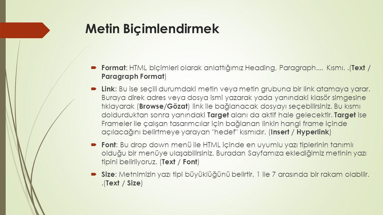Metin Biçimlendirmek  Format : HTML biçimleri olarak anlattığımız Heading, Paragraph.... Kısmı..( Text / Paragraph Format )  Link : Bu ise seçili du