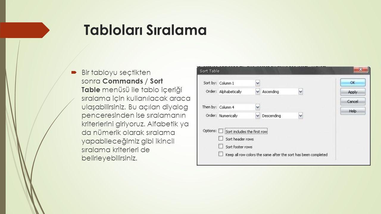 Tabloları Sıralama  Bir tabloyu seçtikten sonra Commands / Sort Table menüsü ile tablo içeriği sıralama için kullanılacak araca ulaşabilirsiniz. Bu a