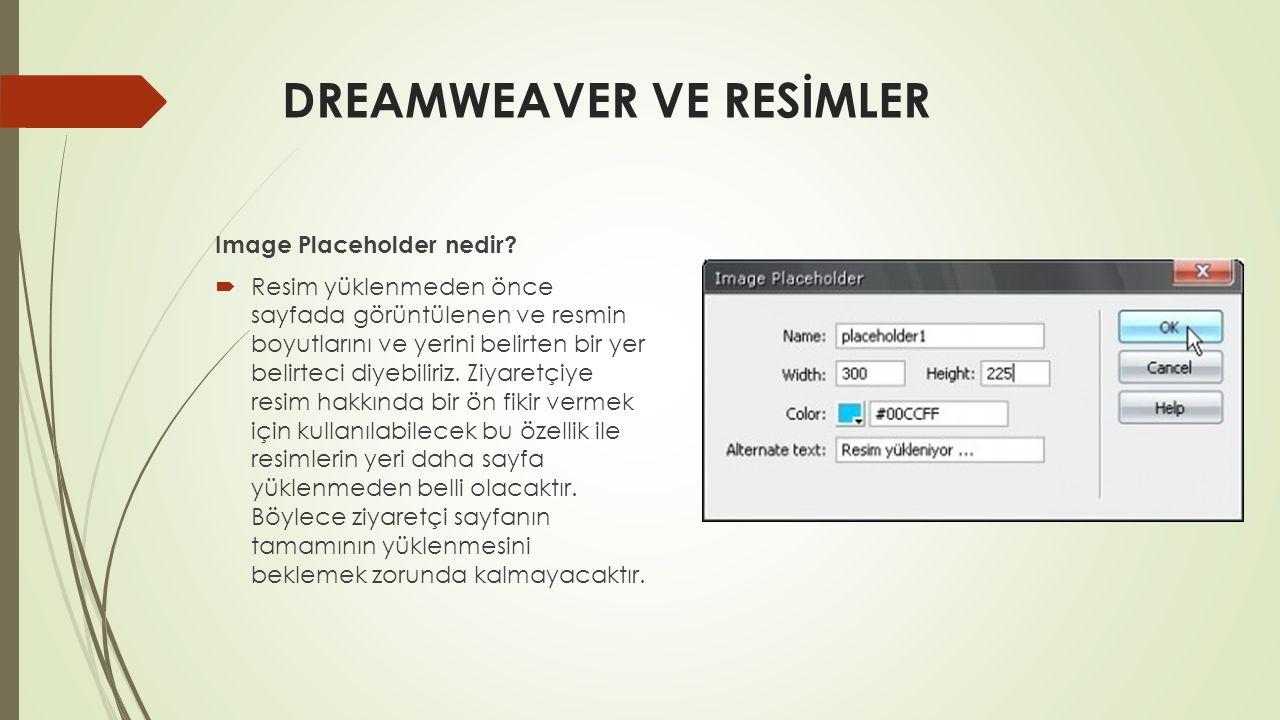 DREAMWEAVER VE RESİMLER Image Placeholder nedir?  Resim yüklenmeden önce sayfada görüntülenen ve resmin boyutlarını ve yerini belirten bir yer belirt