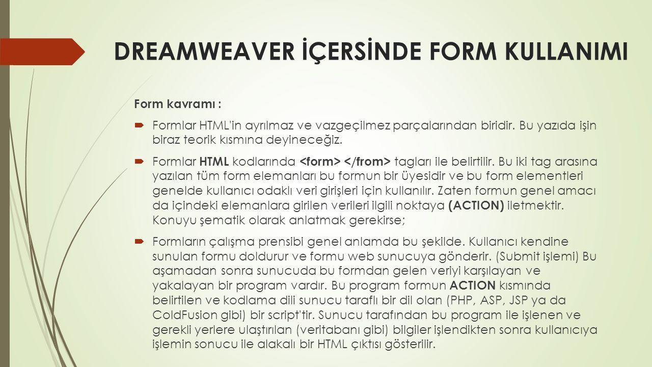 DREAMWEAVER İÇERSİNDE FORM KULLANIMI Form kavramı :  Formlar HTML'in ayrılmaz ve vazgeçilmez parçalarından biridir. Bu yazıda işin biraz teorik kısmı