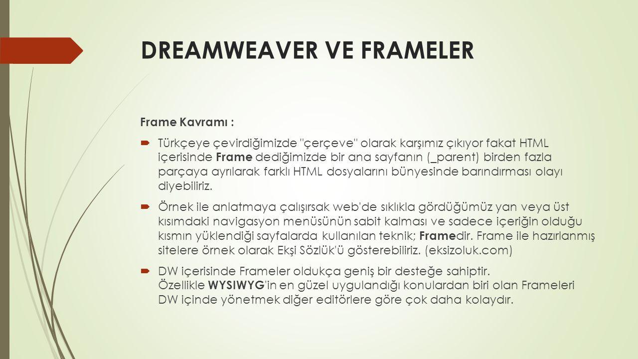DREAMWEAVER VE FRAMELER Frame Kavramı :  Türkçeye çevirdiğimizde