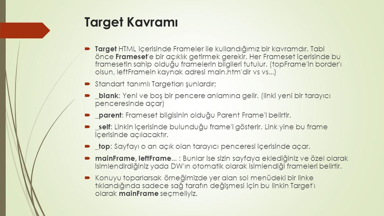 Target Kavramı  Target HTML içerisinde Frameler ile kullandığımız bir kavramdır. Tabi önce Frameset 'e bir açıklık getirmek gerekir. Her Frameset içe