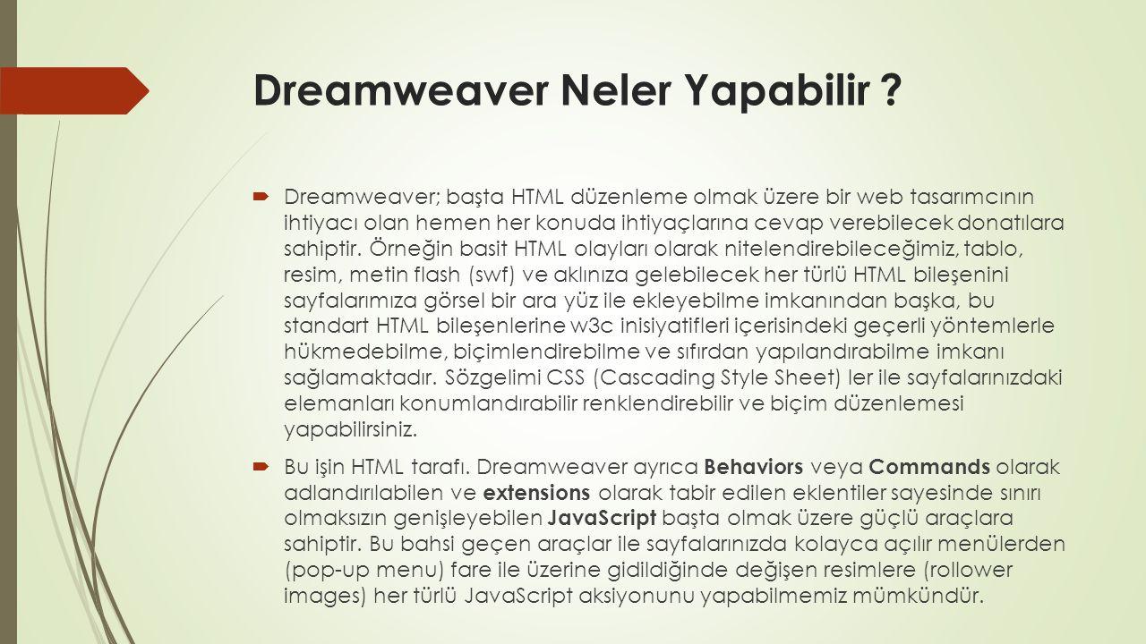 Dreamweaver Neler Yapabilir ?  Dreamweaver; başta HTML düzenleme olmak üzere bir web tasarımcının ihtiyacı olan hemen her konuda ihtiyaçlarına cevap