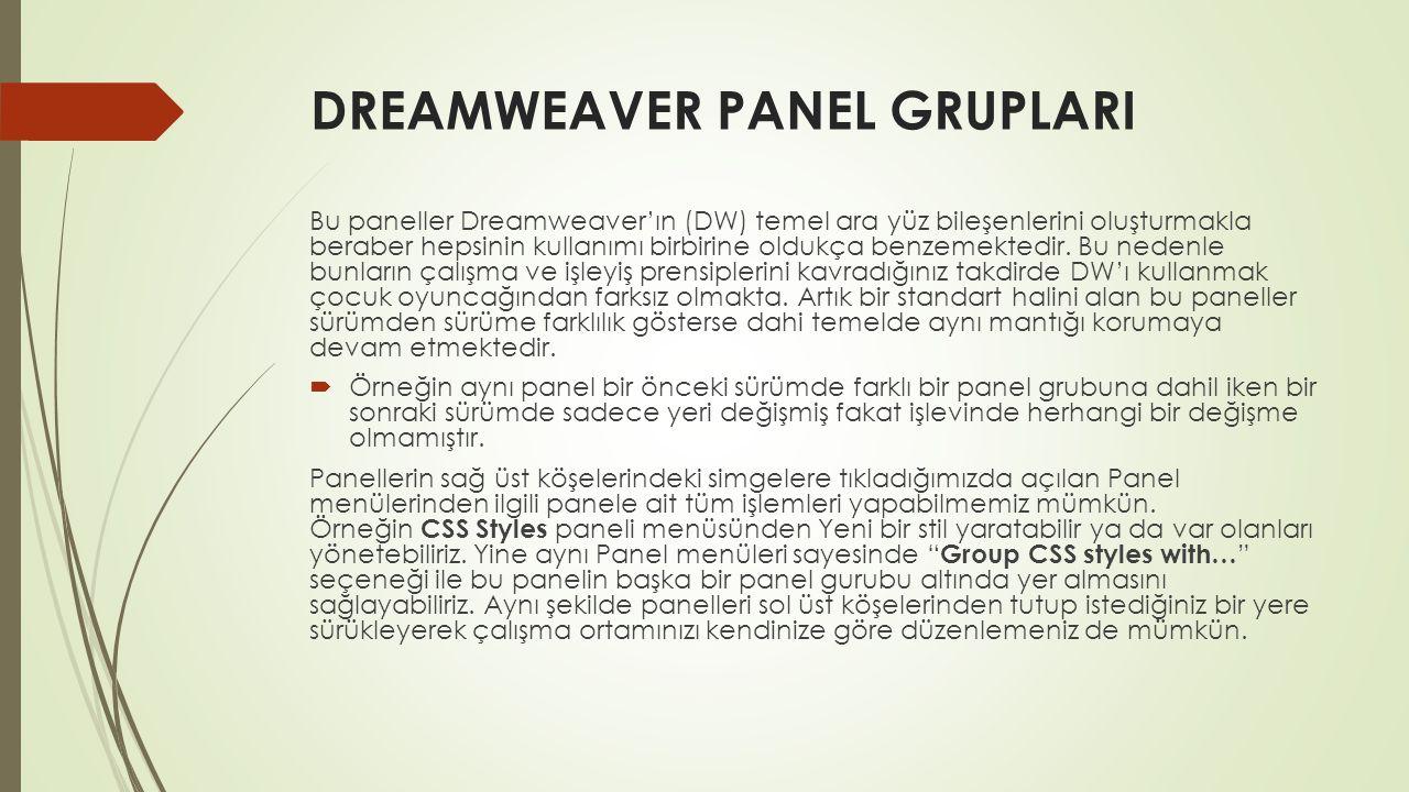 DREAMWEAVER PANEL GRUPLARI Bu paneller Dreamweaver'ın (DW) temel ara yüz bileşenlerini oluşturmakla beraber hepsinin kullanımı birbirine oldukça benze