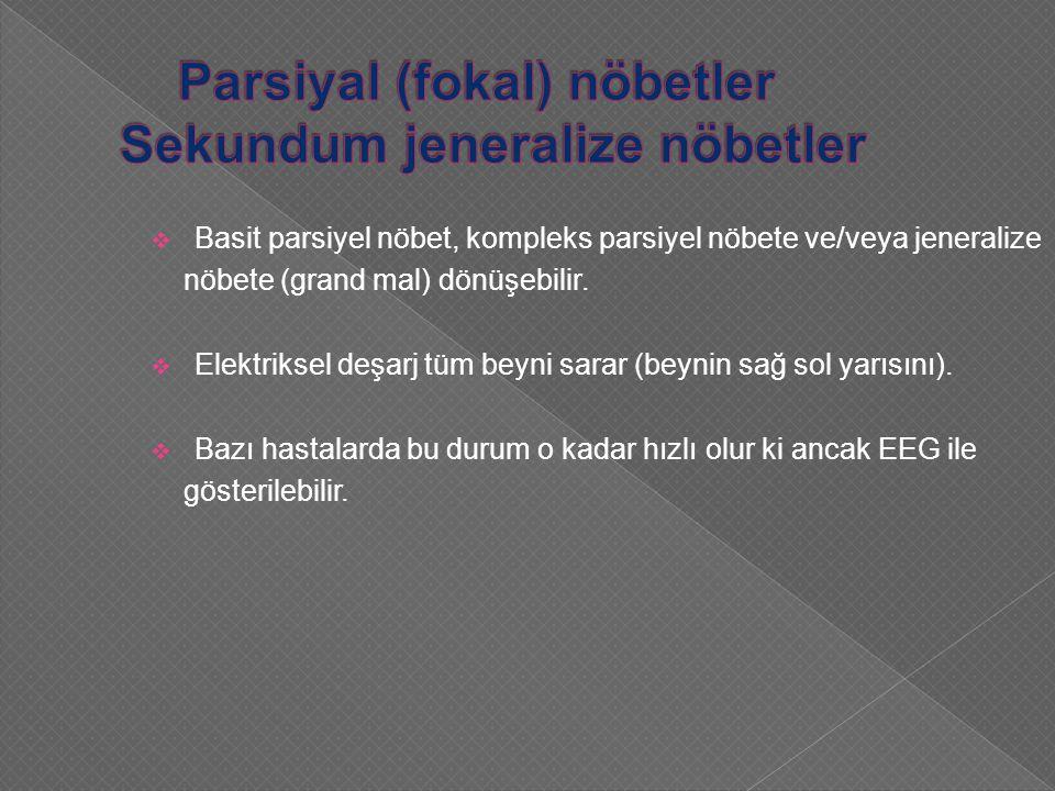  Basit parsiyel nöbet, kompleks parsiyel nöbete ve/veya jeneralize nöbete (grand mal) dönüşebilir.