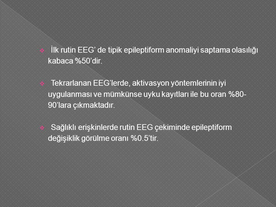  İlk rutin EEG' de tipik epileptiform anomaliyi saptama olasılığı kabaca %50'dir.