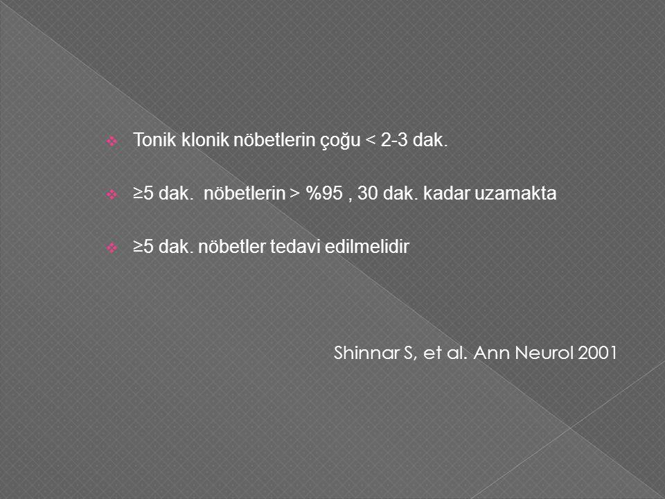  Tonik klonik nöbetlerin çoğu < 2-3 dak. ≥5 dak.