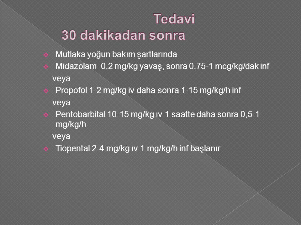  Mutlaka yoğun bakım şartlarında  Midazolam 0,2 mg/kg yavaş, sonra 0,75-1 mcg/kg/dak inf veya  Propofol 1-2 mg/kg iv daha sonra 1-15 mg/kg/h inf veya  Pentobarbital 10-15 mg/kg ıv 1 saatte daha sonra 0,5-1 mg/kg/h veya  Tiopental 2-4 mg/kg ıv 1 mg/kg/h inf başlanır
