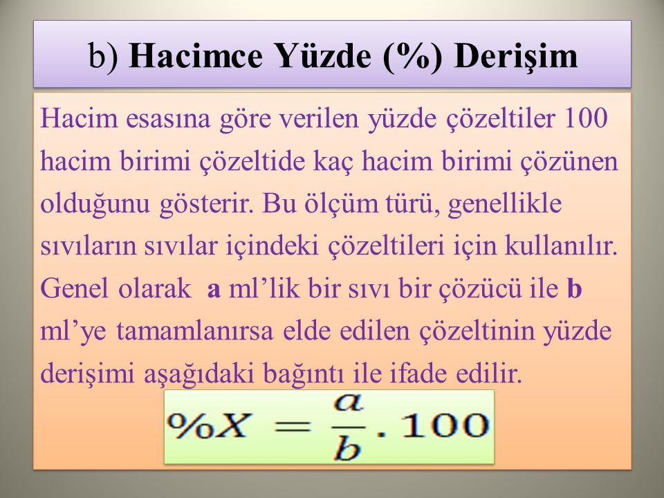 b) Hacimce Yüzde (%) Derişim Hacim esasına göre verilen yüzde çözeltiler 100 hacim birimi çözeltide kaç hacim birimi çözünen olduğunu gösterir.