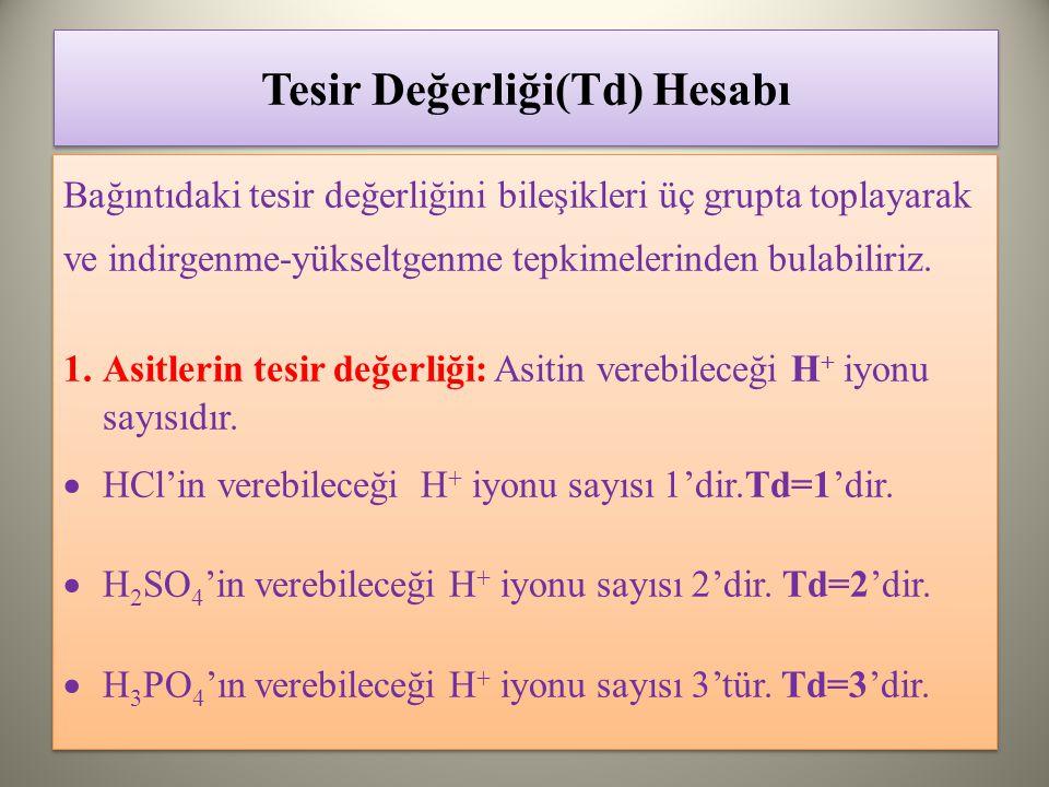 Tesir Değerliği(Td) Hesabı Bağıntıdaki tesir değerliğini bileşikleri üç grupta toplayarak ve indirgenme-yükseltgenme tepkimelerinden bulabiliriz.