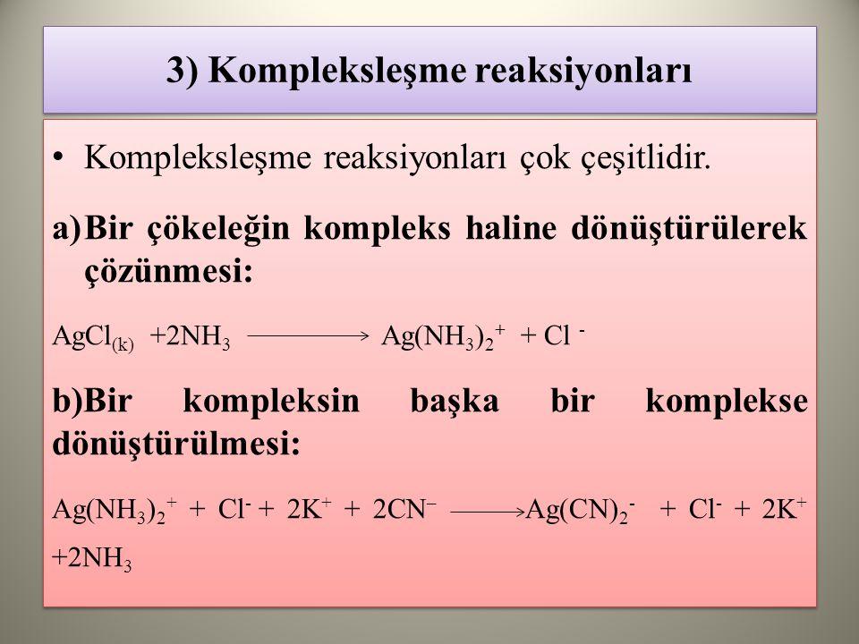 3) Kompleksleşme reaksiyonları Kompleksleşme reaksiyonları çok çeşitlidir.