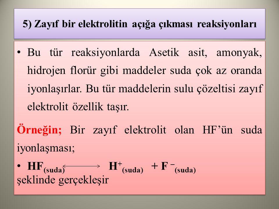 5) Zayıf bir elektrolitin açığa çıkması reaksiyonları Bu tür reaksiyonlarda Asetik asit, amonyak, hidrojen florür gibi maddeler suda çok az oranda iyonlaşırlar.