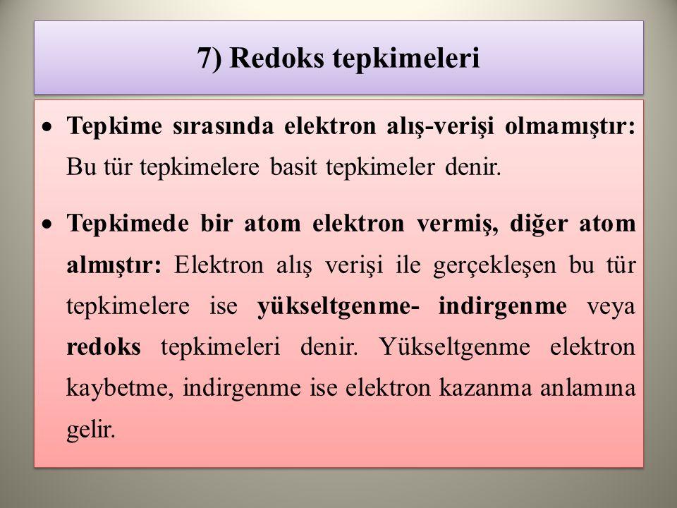 7) Redoks tepkimeleri  Tepkime sırasında elektron alış-verişi olmamıştır: Bu tür tepkimelere basit tepkimeler denir.