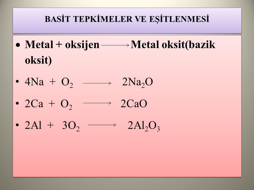 BASİT TEPKİMELER VE EŞİTLENMESİ  Metal + oksijen Metal oksit(bazik oksit) 4Na + O 2 2Na 2 O 2Ca + O 2 2CaO 2Al + 3O 2 2Al 2 O 3  Metal + oksijen Metal oksit(bazik oksit) 4Na + O 2 2Na 2 O 2Ca + O 2 2CaO 2Al + 3O 2 2Al 2 O 3