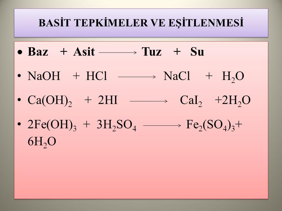 BASİT TEPKİMELER VE EŞİTLENMESİ  Baz + Asit Tuz + Su NaOH + HCl NaCl + H 2 O Ca(OH) 2 + 2HI CaI 2 +2H 2 O 2Fe(OH) 3 + 3H 2 SO 4 Fe 2 (SO 4 ) 3 + 6H 2 O  Baz + Asit Tuz + Su NaOH + HCl NaCl + H 2 O Ca(OH) 2 + 2HI CaI 2 +2H 2 O 2Fe(OH) 3 + 3H 2 SO 4 Fe 2 (SO 4 ) 3 + 6H 2 O