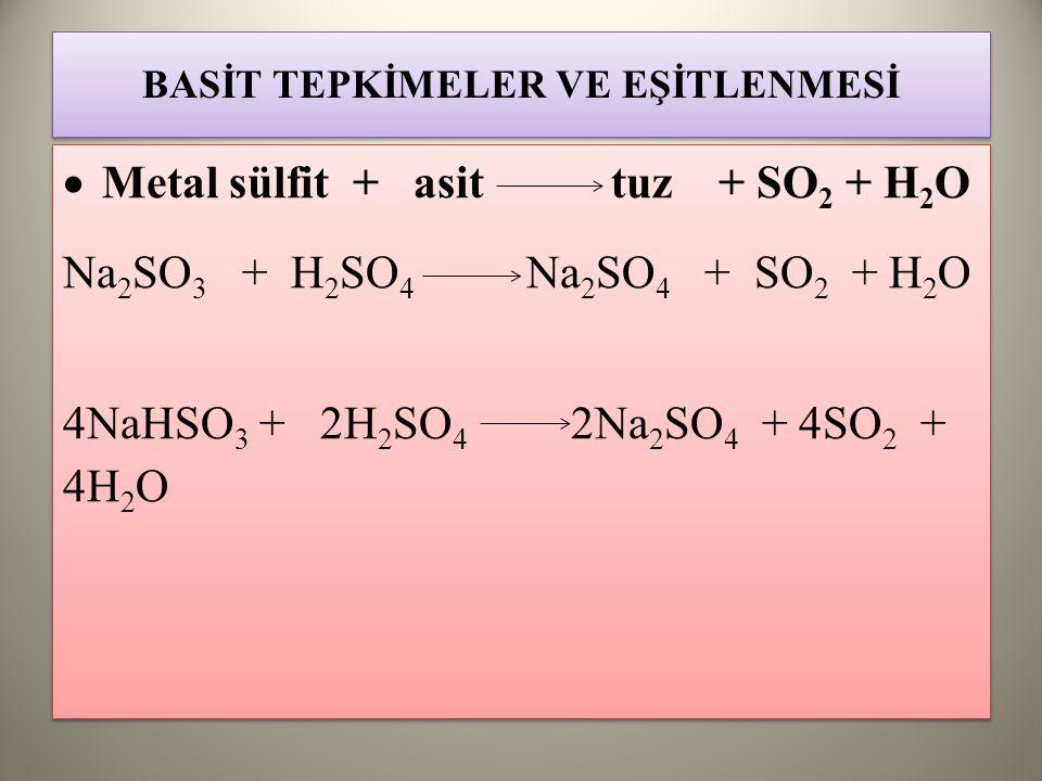 BASİT TEPKİMELER VE EŞİTLENMESİ  Metal sülfit + asit tuz + SO 2 + H 2 O Na 2 SO 3 + H 2 SO 4 Na 2 SO 4 + SO 2 + H 2 O 4NaHSO 3 + 2H 2 SO 4 2Na 2 SO 4 + 4SO 2 + 4H 2 O  Metal sülfit + asit tuz + SO 2 + H 2 O Na 2 SO 3 + H 2 SO 4 Na 2 SO 4 + SO 2 + H 2 O 4NaHSO 3 + 2H 2 SO 4 2Na 2 SO 4 + 4SO 2 + 4H 2 O