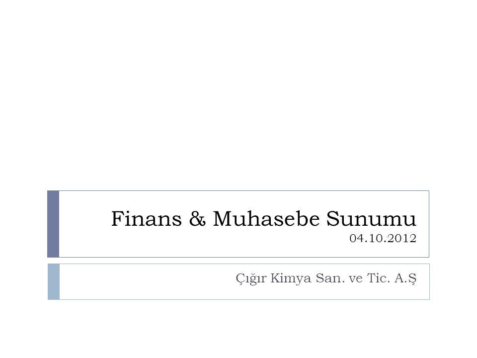 Finans & Muhasebe Sunumu 04.10.2012 Çığır Kimya San. ve Tic. A.Ş