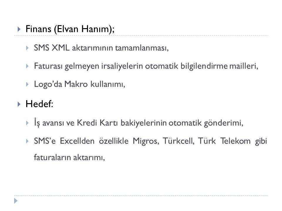  Finans (Elvan Hanım);  SMS XML aktarımının tamamlanması,  Faturası gelmeyen irsaliyelerin otomatik bilgilendirme mailleri,  Logo'da Makro kullanımı,  Hedef:  İ ş avansı ve Kredi Kartı bakiyelerinin otomatik gönderimi,  SMS'e Excellden özellikle Migros, Türkcell, Türk Telekom gibi faturaların aktarımı,