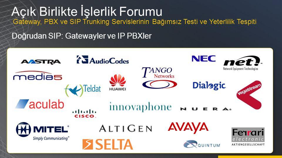 Açık Birlikte İşlerlik Forumu Doğrudan SIP: Gatewayler ve IP PBXler Gateway, PBX ve SIP Trunking Servislerinin Bağımsız Testi ve Yeterlilik Tespiti