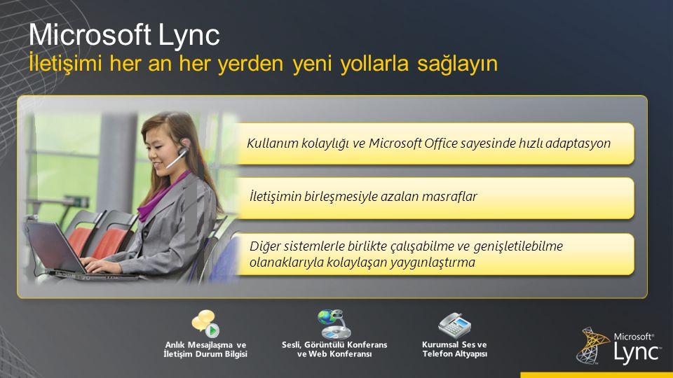 Microsoft Lync İletişimi her an her yerden yeni yollarla sağlayın Diğer sistemlerle birlikte çalışabilme ve genişletilebilme olanaklarıyla kolaylaşan yaygınlaştırma Anlık Mesajlaşma ve İletişim Durum Bilgisi Sesli, Görüntülü Konferans ve Web Konferansı Kurumsal Ses ve Telefon Altyapısı İletişimin birleşmesiyle azalan masraflar Kullanım kolaylığı ve Microsoft Office sayesinde hızlı adaptasyon