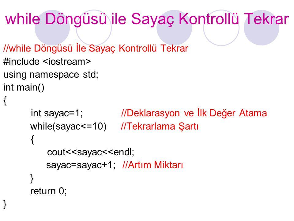 while Döngüsü ile Sayaç Kontrollü Tekrar //while Döngüsü İle Sayaç Kontrollü Tekrar #include using namespace std; int main() { int sayac=1; //Deklaras