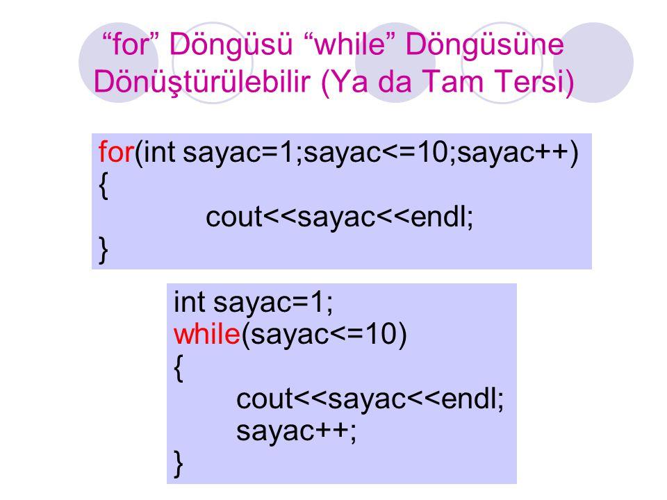 """""""for"""" Döngüsü """"while"""" Döngüsüne Dönüştürülebilir (Ya da Tam Tersi) for(int sayac=1;sayac<=10;sayac++) { cout<<sayac<<endl; } int sayac=1; while(sayac<"""