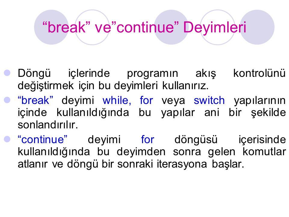 """""""break"""" ve""""continue"""" Deyimleri Döngü içlerinde programın akış kontrolünü değiştirmek için bu deyimleri kullanırız. """"break"""" deyimi while, for veya swit"""