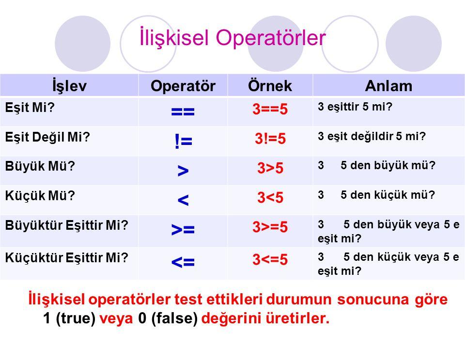 İlişkisel Operatörler İlişkisel operatörler test ettikleri durumun sonucuna göre 1 (true) veya 0 (false) değerini üretirler. İşlevOperatörÖrnekAnlam E