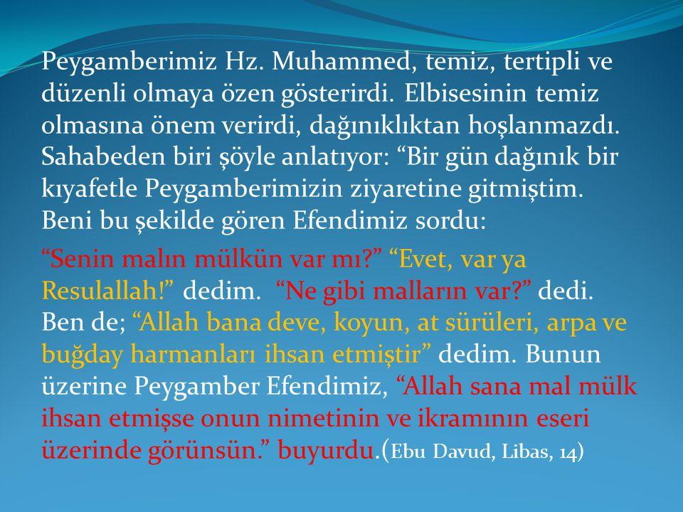 Peygamberimiz Hz. Muhammed, temiz, tertipli ve düzenli olmaya özen gösterirdi. Elbisesinin temiz olmasına önem verirdi, dağınıklıktan hoşlanmazdı. Sah