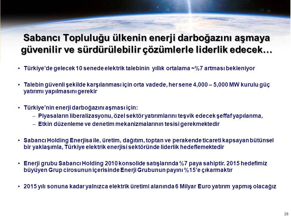 26 Türkiye'de gelecek 10 senede elektrik talebinin yıllık ortalama ~%7 artması bekleniyor Talebin güvenli şekilde karşılanması için orta vadede, her s