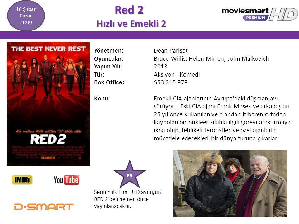 Red 2 Hızlı ve Emekli 2 Red 2 Hızlı ve Emekli 2 Yönetmen: Dean Parisot Oyuncular: Bruce Willis, Helen Mirren, John Malkovich Yapım Yılı: 2013 Tür: Aks