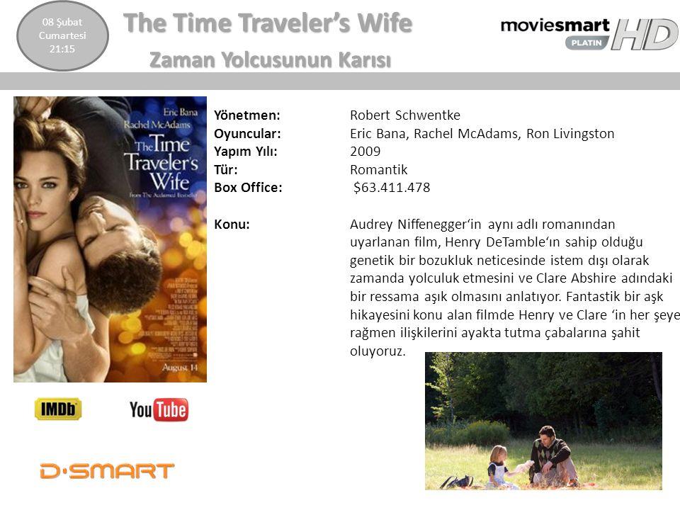 The Time Traveler's Wife The Time Traveler's Wife Zaman Yolcusunun Karısı Zaman Yolcusunun Karısı Yönetmen: Robert Schwentke Oyuncular: Eric Bana, Rac