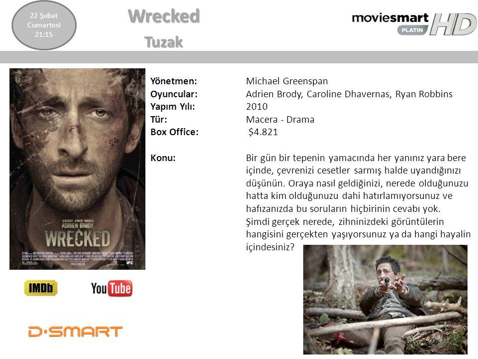 WreckedTuzak Yönetmen: Michael Greenspan Oyuncular: Adrien Brody, Caroline Dhavernas, Ryan Robbins Yapım Yılı: 2010 Tür: Macera - Drama Box Office: $4
