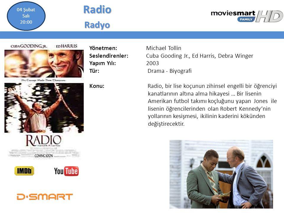 RadioRadyo Yönetmen: Michael Tollin Seslendirenler: Cuba Gooding Jr., Ed Harris, Debra Winger Yapım Yılı: 2003 Tür: Drama - Biyografi Konu: Radio, bir