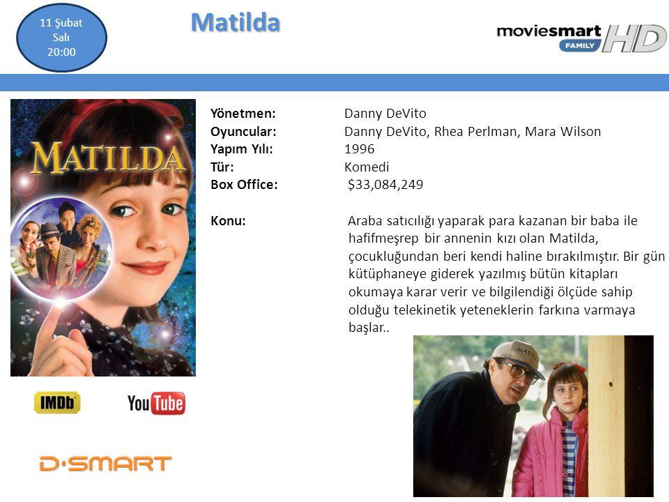 Matilda Matilda Yönetmen: Danny DeVito Oyuncular: Danny DeVito, Rhea Perlman, Mara Wilson Yapım Yılı: 1996 Tür: Komedi Box Office: $33,084,249 Konu: A