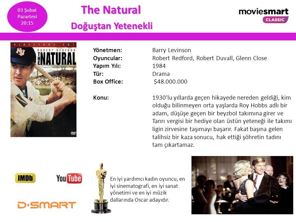 The Natural The Natural Doğuştan Yetenekli Doğuştan Yetenekli Yönetmen: Barry Levinson Oyuncular: Robert Redford, Robert Duvall, Glenn Close Yapım Yıl