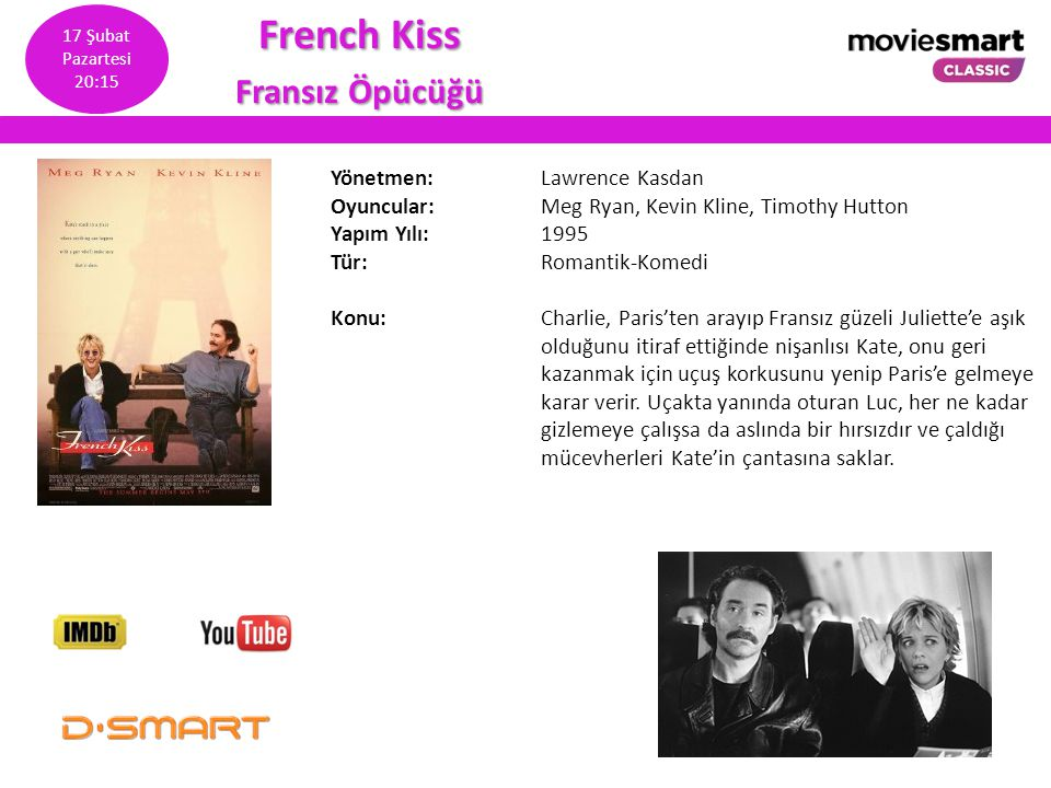 French Kiss Fransız Öpücüğü Yönetmen: Lawrence Kasdan Oyuncular: Meg Ryan, Kevin Kline, Timothy Hutton Yapım Yılı: 1995 Tür: Romantik-Komedi Konu: Cha