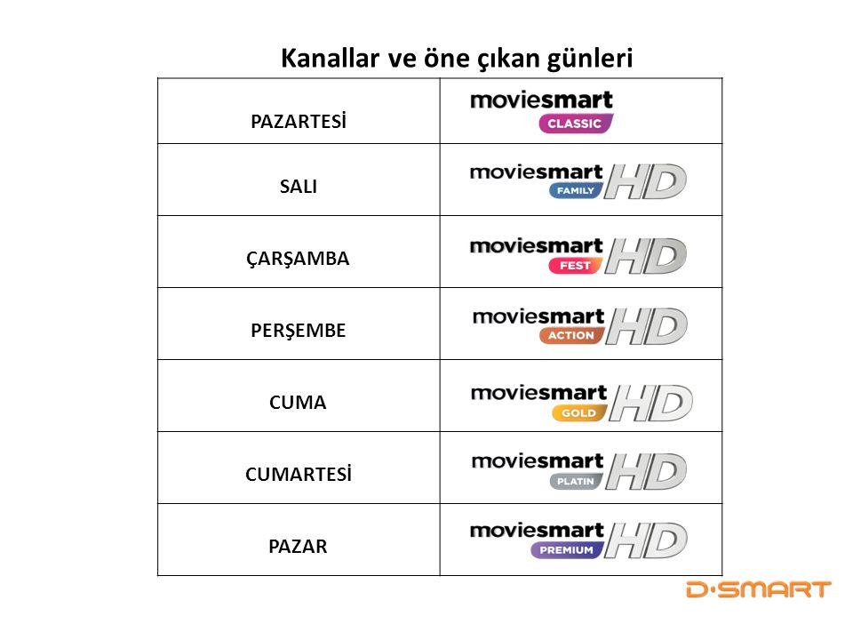 PAZARTESİ SALI ÇARŞAMBA PERŞEMBE CUMA CUMARTESİ PAZAR Kanallar ve öne çıkan günleri