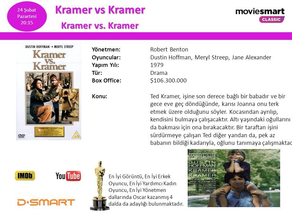 Kramer vs Kramer Kramer vs. Kramer Yönetmen: Robert Benton Oyuncular: Dustin Hoffman, Meryl Streep, Jane Alexander Yapım Yılı: 1979 Tür: Drama Box Off