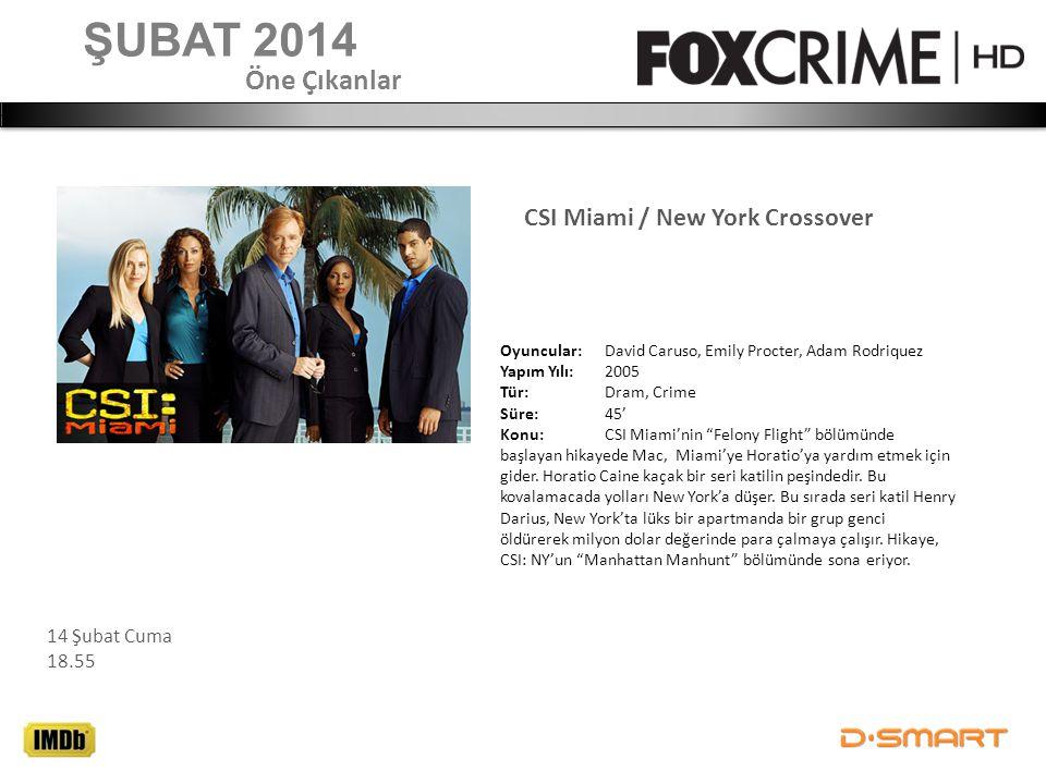 CSI Miami / New York Crossover ŞUBAT 2014 Öne Çıkanlar Oyuncular: David Caruso, Emily Procter, Adam Rodriquez Yapım Yılı: 2005 Tür: Dram, Crime Süre:4