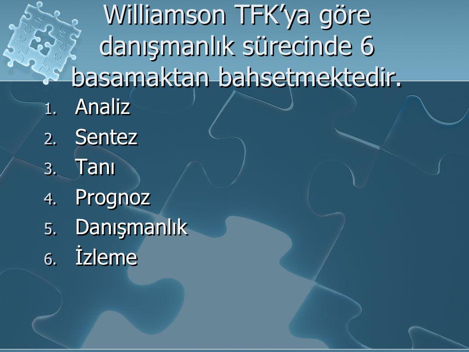 Williamson TFK'ya göre danışmanlık sürecinde 6 basamaktan bahsetmektedir. 1. Analiz 2. Sentez 3. Tanı 4. Prognoz 5. Danışmanlık 6. İzleme 1. Analiz 2.