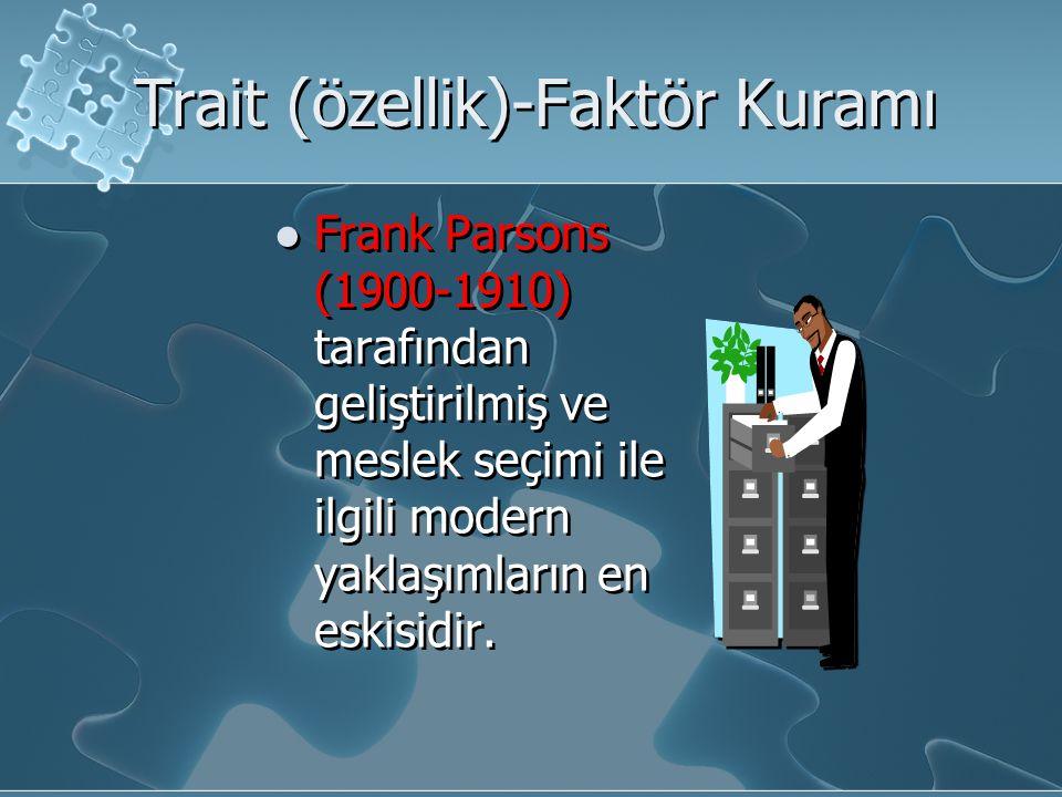 Trait (özellik)-Faktör Kuramı Frank Parsons (1900-1910) tarafından geliştirilmiş ve meslek seçimi ile ilgili modern yaklaşımların en eskisidir.