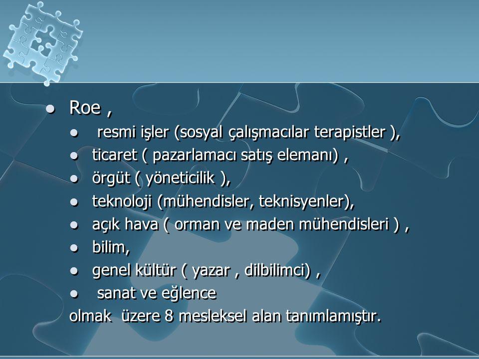 Roe, resmi işler (sosyal çalışmacılar terapistler ), ticaret ( pazarlamacı satış elemanı), örgüt ( yöneticilik ), teknoloji (mühendisler, teknisyenler