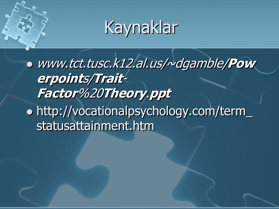 Kaynaklar www.tct.tusc.k12.al.us/~dgamble/Pow erpoints/Trait- Factor%20Theory.ppt http://vocationalpsychology.com/term_ statusattainment.htm www.tct.t
