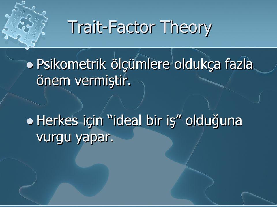 """Trait-Factor Theory Psikometrik ölçümlere oldukça fazla önem vermiştir. Herkes için """"ideal bir iş"""" olduğuna vurgu yapar. Psikometrik ölçümlere oldukça"""