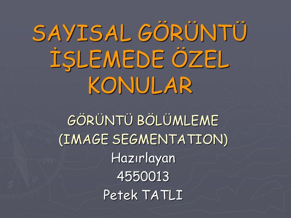 SAYISAL GÖRÜNTÜ İŞLEMEDE ÖZEL KONULAR GÖRÜNTÜ BÖLÜMLEME (IMAGE SEGMENTATION) Hazırlayan4550013 Petek TATLI