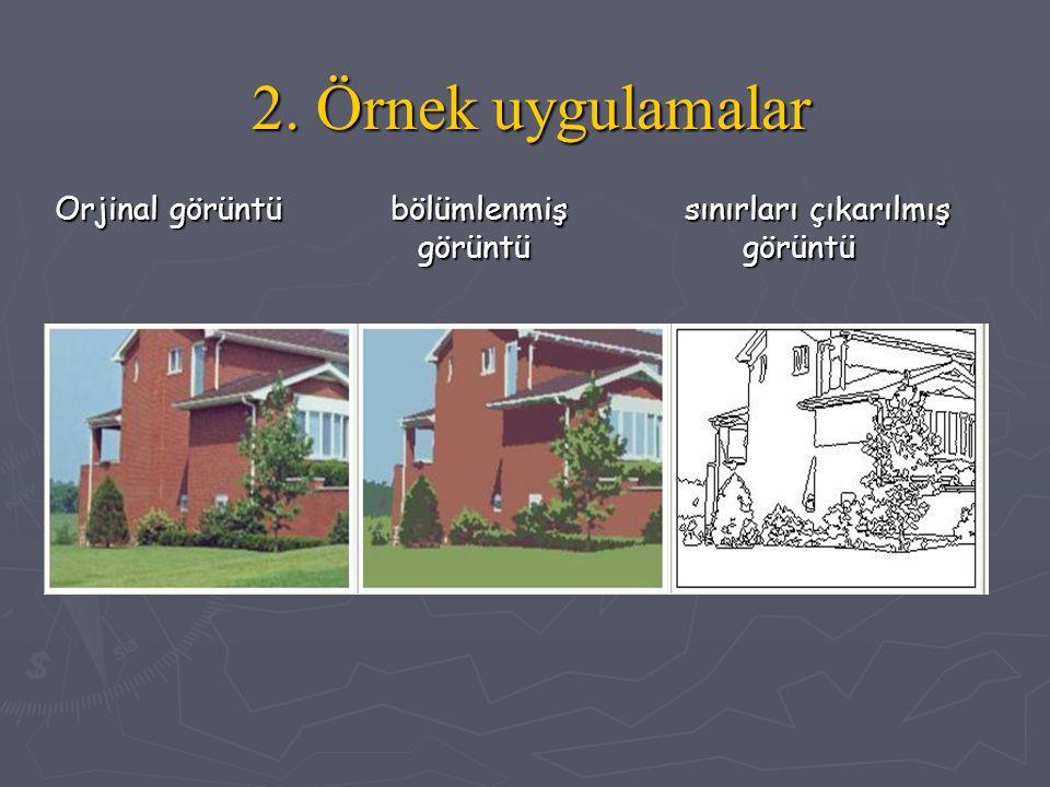 2. Örnek uygulamalar Orjinal görüntü bölümlenmiş sınırları çıkarılmış görüntü görüntü Orjinal görüntü bölümlenmiş sınırları çıkarılmış görüntü görüntü