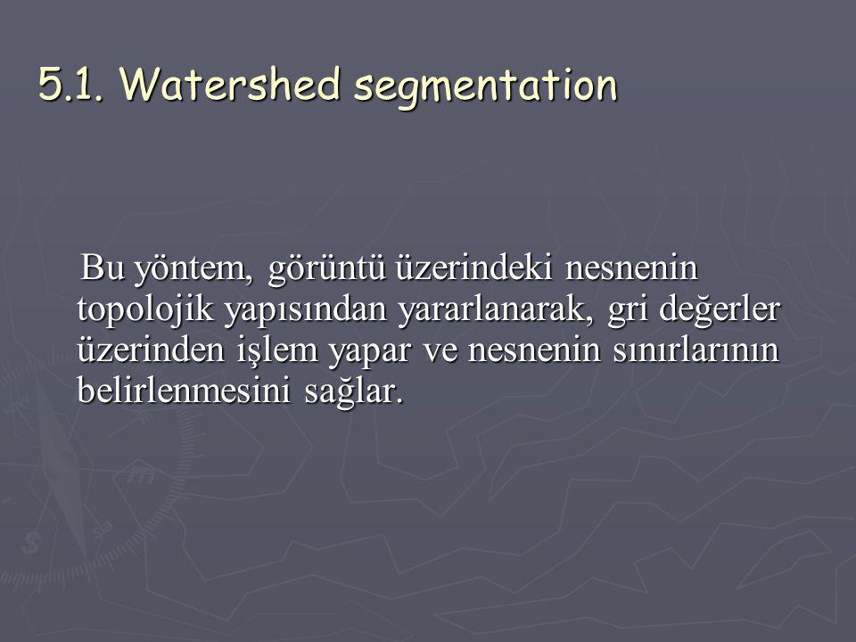 5.1. Watershed segmentation Bu yöntem, görüntü üzerindeki nesnenin topolojik yapısından yararlanarak, gri değerler üzerinden işlem yapar ve nesnenin s
